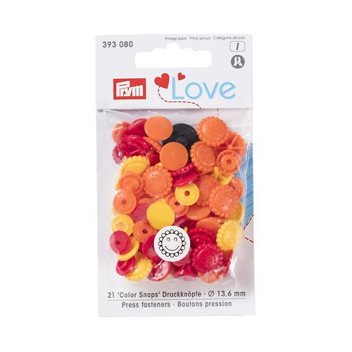 Prym Love 21 Color Snaps Blumen 13,6mm orange, gelb, rot Preisklasse I
